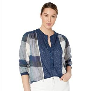 LUCKY BRAND Mix Plaid Cotton and Linen Blouse